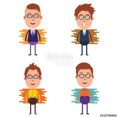 Vector: 4 Set of Young Businessman Cartoon Character