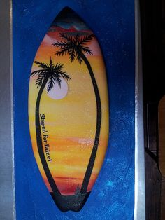 lying down Surfboard shaped Wicked Chocolate cake covered in fondant icing with painted sunset scene & palm trees Surfing Cakes, Wave Cake, Surf Cake, Thomas Cakes, Beach Themed Cakes, Surfboard Shapes, Cupcake Cakes, Cupcakes, Surfer Dude