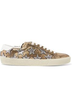 Saint Laurent - Court Classic Appliquéd Metallic Cracked-leather Sneakers - Gold - IT37.5