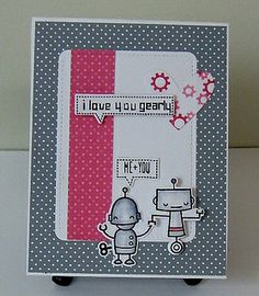 """Lawn Fawn - Beep Boop Birthday, Woodgrain Backdrops, Stitched Journaling Card, Let's Polka and Hello Sunshine 6x6 paper _ Adorable custom sentiment by Donna """"robot love"""" via Flickr - Photo Sharing!"""