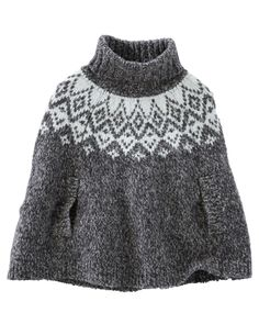 Baby Girl Sparkle Fair Isle Poncho from OshKosh B'gosh. Shop clothing & accessories from a trusted name in kids, toddlers, and baby clothes.