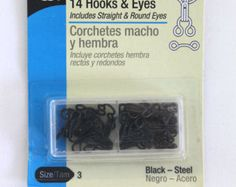 Hooks & Eyes Black Size 2 or Size 3 Straight and Round Eyes Dritz Craft Supplies Sewing Notions by attictreasuresbyjudy. Explore more products on http://attictreasuresbyjudy.etsy.com