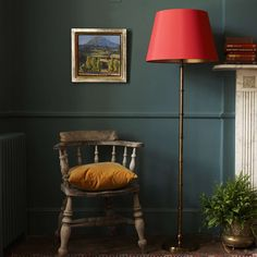 Chukka antiqued brass floor lamp from Pooky lighting. Available at Burford Garden Company. My Living Room, Home And Living, Antique Brass Floor Lamp, Pooky Lighting, Interior Styling, Interior Design, Gold Interior, Dark Interiors, Green Rooms