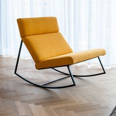 Gus* Modern | For Spring 2013 - The GT Rocker will be introduced in a NEW vivid yellow fabric entitled Laurentian Citrine. The Gus* version of the perfect modern rocking chair; featuring a black powder coated frame with architecturally-styled cushions inspired by airport lounge seating and 70's car interiors.