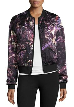 Reversible Silk & Nylon Bomber Jacket by BLANC NOIR. Blanc Noir bomber jacket reverses from printed silk to colorblock sueded tech fabric with reflective tape details. So...