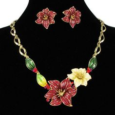 Beautiful Red Flower Prom Ball Necklace Earring Jewelry Jewellery Set SKU-10801196