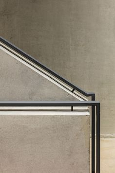 HWN HQ,© Kyungsub Shin - concrete staircase with metal railing Concrete Staircase, Staircase Handrail, Steel Handrail, Interior Staircase, Stair Railing, Bannister, Contemporary Stairs, Modern Stairs, Contemporary Design