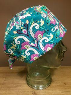 Custom Caps Company Teal & Pink Damask Scrub Cap, Beautiful Women's Surgical Cap, Pixie Tie Back Scrub Cap by CustomCapsCompany on Etsy