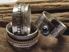 Two sterling silver spinner rings and one wrap ring with kyanite stone by Jill Endicott Jewellery. Spinner Rings, Cuff Bracelets, Jewellery, Sterling Silver, Stone, Earrings, Bijoux, Ear Rings, Jewels