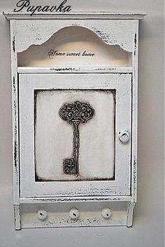 Kľúčik 3D skrinka na kľúče Decoupage, Wooden Key Holder, Estilo Country, Key Box, Florida Living, Wooden Art, Keepsake Boxes, Decoration, Home Remodeling