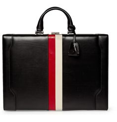 Gucci, striped leather briefcase. Also known as the Fuck You Briefcase.