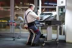 The Chairless Chair is a flexible wearable ergonomic sitting support. The main application is for the manufacturing companies, where workers are required to stand