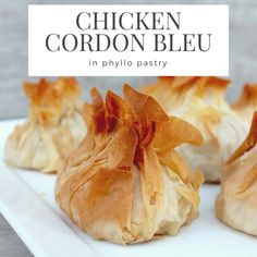 Chicken Cordon Bleu in Phyllo Pastry has a unique spin on the classic recipe making it perfect for entertaining. A wonderful recipe for when you want to wow! Phylo Pastry Recipes, Savoury Pastry Recipe, Phyllo Recipes, Appetizer Recipes, Appetizers, Savoury Recipes, Bread Recipes, Dinner Recipes, Chicken And Pastry