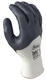 SHOWA™ Size 8 Zorb-IT® Extra Abrasion Resistant Gray Nitrile Dipped Palm Coated Work Gloves With White Seamless Nylon And Polyester Knit Liner And Elastic Cuff