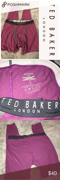 """Ted Baker London Purple Longjohns Size 4 Ted Baker Purple Long Johns Size 4. These are great pre-owned long johns from a smoke free home. Measurements: 13.5"""" waist, 26"""" inseam. Made from organic cotton. Ted Baker London Other"""