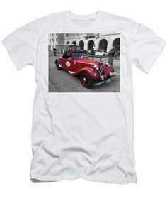 Purchase a t-shirt featuring the image of Citroen Traction Avant Cabriolet 1937 by Marina Usmanskaya for home design.   Available in sizes S - XXL.  Each t-shirt is printed on-demand, ships within 1 - 2 business days, and comes with a 30-day money-back guarantee.  #CitroenTractionAvantCabriolet1937ByMarinaUsmanskaya #RetroAuto Ferrara.  Italy 2017