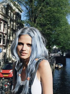 pale/pastel blue hair photoshopped on lara stone Dark Ombre Hair, Pastel Blue Hair, Dyed Hair Ombre, Pink Hair, Hair Dye, Fashion Models, Hair Chalk, Love Hair, Silver Hair