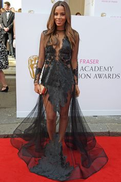 Rochelle Humes' dramatic dress was complimented by her sleek, glossy, red carpet ready hair #BAFTA #redcarpet #hair