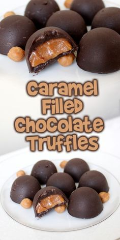 Chocolate & caramel are always a winning combination and today I'm showing you how to make these Caramel Filled Chocolate Truffles with only 3 ingredients! Chocolate Candy Recipes, Chocolate Sweets, Chocolate Filling, Chocolate Caramels, Fudge Recipes, Chocolate Truffles, Homemade Chocolate, Chocolate Truffle Cake, Making Chocolate