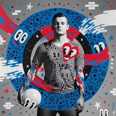 "Pôsteres da Pepsi para a campanha ""The art of football"", com artes de Hattie Stewart, Jaz y Ever, Ricardo AKN, Zosen e Merijn Hos Pepsi, Jack Wilshere, Visual Communication Design, Sports Graphic Design, Graphic Designers, Cup Art, Street Artists, Graphic Design Inspiration, Cartoon Drawings"