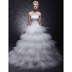 Wedding Dress Ball Gown Sweep Brush Train Ruched and Tiered Tulle Strapless
