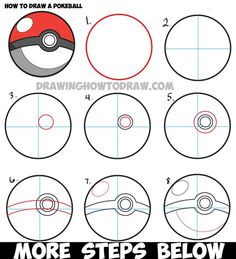 How to Draw a Pokeball from Pokemon - Easy Step by Step Drawing Tutorial - How to Draw Step by Step Drawing Tutorials - Zeichnungen - Kathrin Easy Pokemon Drawings, Cute Easy Drawings, Drawing Cartoon Characters, Character Drawing, Cartoon Art, Easy Manga, Sketch Manga, How To Draw Steps, Photoshop For Photographers