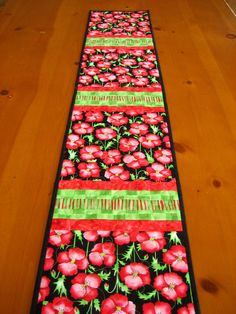 Quilted Table Runner Floral Table Runners by PatchworkMountain