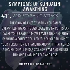 Symptoms of Kundalini Awakening Anxiety/Panic AttacksThis is very common for beginners on the path but can also creep up during intense energy shifts or when you're very ungrounded. Sometimes it can be from feeling energy without realizing it or perha Anxiety Panic Attacks, This Is Your Life, Kundalini Yoga, Spiritual Growth, Spiritual Wisdom, Spirituality Art, Spiritual Awakening, Spiritual Enlightenment, Along The Way