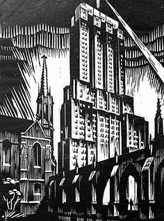 Charles Turzak, American (1899-1986) - The Palmolive Building, 12-1/4 x 9 in. Woodcut, c.1932, edition 12/50.
