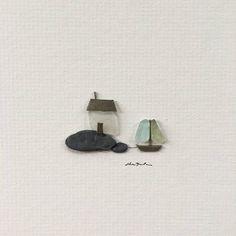 Original Sea glass am Meer Haus Kunst 5 mal 5 Mini ungerahmt