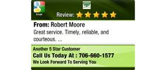 Great service. Timely, reliable, and courteous.
