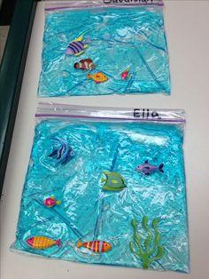 Under the sea pocket aquarium   Ziplock bag with blue hair gel and fish stickers