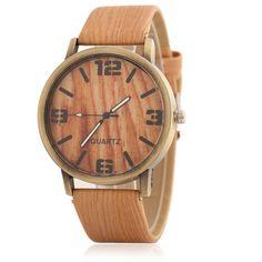 a80ba873e903 Luxury Charming Wood Grain Wristwatch for Women and Men
