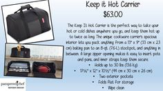 Keep it Hot Carrier   Another TOP NEW FAVORITE tool!!  I will never again suffer the spills of my dishes as I drive them to friends & family!!!  The best part, you can use your Stackable Cooling Rack inside to create 2 layers of transportation!!  So, your lasagna can be in the same carrier as your Peanut Butter, Caramel & Chocolate Brownie!  YUM!!  Pouches on the outside for your utensils & Silicone MIts!! www.pamperedchef.biz/joyallison