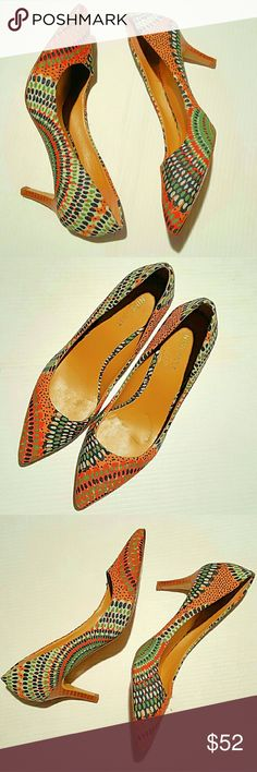 EUC Nine West Multicolor Print Pump Heels Size 6 Gorgeous pump heels by 9 West, lightly loved. Only sign of wear is visible by bottom/soles. Size 6M. Super cute Fall colors and pairs perfectly with jeans or dress it up with pencil skirt! DISCOUNTED BUNDLES AND FREE GIFT WITH PURCHASE! Nine West Shoes Heels