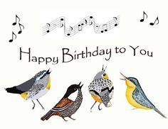 Little Birds Singing Birthday Greeting Card~LadyWhoLovesBirds Celebration~SONGBIRDS~Friends~Musical Notes~Fantasy Birds Birthday Birthday Greeting Cards, Birthday Greetings, Birthday Wishes, Birthday Freebies, Birthday Blessings, Birthday Dates, Bday Cards, Birthday Banners, Happy Birthday Birds