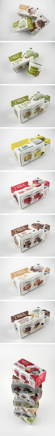 Package Design - 2Voglie is a line of Italy ice cream. The top and body of each package are decorated with simple, one color graphics, different for each flavor of the ice cream. It is subdivided among flavours of fruit sorbet and ice-cream.