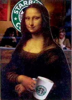 Art Humor: Mona Lisa at Starbucks Pop Art, Tableaux Vivants, La Madone, Mona Lisa Parody, Mona Lisa Smile, Arte Pop, Italian Artist, Portrait, Art History