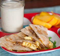 Loaded Breakfast Quesadillas- Great finger food for toddlers and for the hubby on his way out the door to work.
