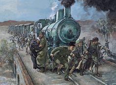 Arab irregulars attacking ottoman trains during the Arab Revolt