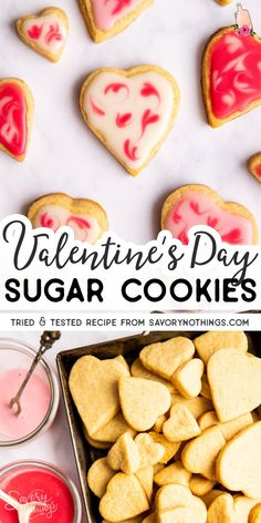Try These Soft And Delicious Sugar Cookies For Your Valentine's Day Treat These Are Perfect For Class Parties, Easy To Make With Kids And So Fun To Decorate The Heart Shapes With A Super Quick Icing Cookie Recipes, Dessert Recipes, Cookie Ideas, Dessert Ideas, Dinner Recipes, Valentine's Day Sugar Cookies, Valentine Desserts, Low Carb Cheesecake, Strawberry Puree