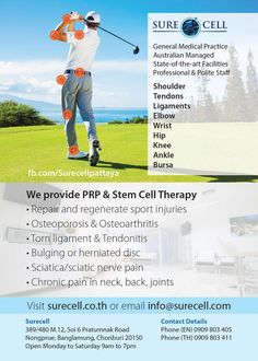 A note for your diaries. At 6pm on Monday 20th November, Dr. Peter Lewis will hold a seminar explaining the benefits of PRP and Stem Cell Therapy treatments at Surecell Clinic. Contact them to confirm your place  https://www.fb.com/Surecellpattaya