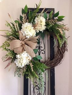 Everyday wreath farmhouse wreath Hydrangea wreath all season wreath everyday wreath for front door farmhouse wreath wall decor Greenery Wreath, Hydrangea Wreath, Hydrangea Season, Floral Wreaths, Blue Hydrangea, White Hydrangeas, Diy Wreath, Grapevine Wreath, Tulle Wreath