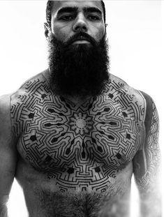 50 Tribal Chest Tattoos For Men - Masculine Design Ideas Unique Tattoos For Men, Tattoos For Guys, Tattoos For Women, Mandala Brust Tattoo, Sri Yantra Tattoo, Body Art Tattoos, Girl Tattoos, Male Tattoo, Maori Tattoos