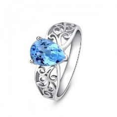 925 Sterling Silver Natural Sky Blue Topaz Ring - USD $88.95