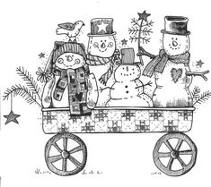 Snowmen in cart- lineart