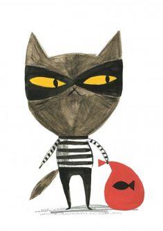 Cat Burglar Card. Nobody will ever suspect the subtle Catnapper. #funny #cat #fish