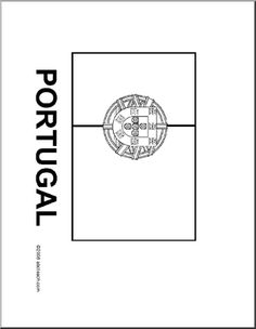 Flag: Portugal - Blackline illustration of the Portuguese flag. Portuguese Flag, Learn Brazilian Portuguese, Portuguese Lessons, Portuguese Language, Portugal Flag, Little Passports, Common Quotes, Teaching Geography, Flag Art
