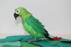 Paper Bird - Parrot by Diana Beltran  #Pajaros #Papel #Paper #Birds #DianaBeltran #handmade #green #verde #feather #pluma #colombia #Parrot #loro