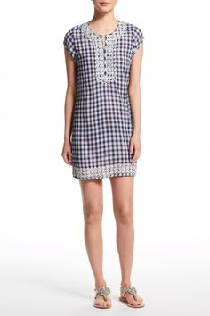 Ro Embroidered Cotton Gingham Dress   | Calypso St. Barth